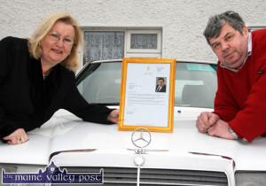 The framed letter from former Taoiseach Brian Cowen has pride of place in the home of Dermot Horan and Mary O'Connor.  ©Photograph: John Reidy