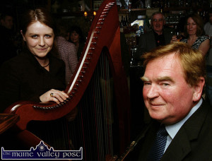Harpist, Suzanne Quille and box player, the late Dan Murphy pictured at a Fleadh by the Feale launch in Abbeyfeale in 2006. ©Photograph:  John Reidy  05/04/2006
