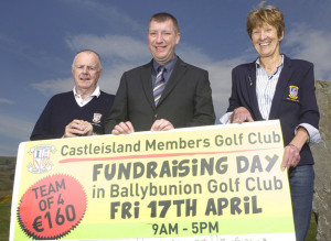 Mike Action, (centre)  sales manager with Pallas Foods and chief sponsor of The Castleisland Members' Golf Club Fundraising Day at  Ballybunion Golf Club. He is pictured here with club captains:  Domhnall De Barra and Catherine Horan ahead of the event on this Friday. Photograph: JDM Photography.ie