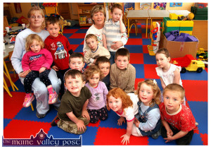 A decade ago: Kilmurry Community Pre-School / Play Group leader, Norma O'Connor (centre) and assistant, Ann Marie O'Connor pictured with a group of happy children in their care at Kilmurry National School. Included are: Hannah Lampkin, Neil McAuliffe, DJ Fealy, Alice Lampkin, Clodagh O'Sullivan, Róisín T. Brosnan, Lee O'Connor. Ronan Walsh, Cathal O'Donoghue, Mark O'Donoghue, Róisín Brosnan,  David Lampkin and Óisín Crowley.  ©Photograph: John Reidy   26-5-2005