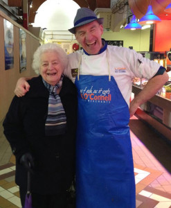 Mrs Mary Tangney knocking a laugh from Queen Elizabeth's favourite fishmonger, Pat O'Connell at the English Market in Cork recently.