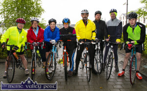 The Sinners Spinners Cycling Group members preparing to head off on Saturday morning. Included are: Anne Bergin, Michelle O'Sullivan, Mary Mahony, Bernadette Fagan, Gerry Fagan, David Carmody, Liam Kennedy and Daniel McCarthy. ©Photograph: John Reidy 25-4-2015