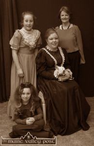 Dr. Fiona Brennan (right) pictured with Lorraine Salmon (seated) and sisters, Gráinne and Muireann Walsh after Sliabh Luachra Drama Group  ended its six-night run with The Colleen Bawn at the Heritage Centre In Scartaglin in February 2012 ©Photograph: John Reidy 29-2-2012