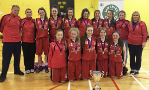 The St. Mary's U-16 Girls B Division 1 All-Ireland Champions: Front from left: Anna Lynch, Sarah O'Sullivan, Darya O'Connell, Aoife O'Connor and Nicole Downey.  Back row: Eamon Egan and Joanne Walmsley coaches; Labhaoise Walmsley, Emily Borderick, Emma Dineen, Moya Sheehan, Siobhan Collins, Chloe O'Connor, Julie O'Connor and Joanne Downey, coach.