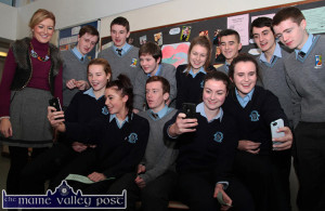 Class Selfie: St. Joseph's Presentation Secondary Transition Year leader and teacher, Mairead Lane-Cronin pictured with students, st. Joseph's and St. Patrick's. Front from left: Andrea Murphy, Shauna Hickey, Luke Fitzgerald, Rachel O'Connor and Ellen Sheehan. Back, with Ms. Lane-Cronin, are from left: Paddy Flynn, Jason Cronin, Christopher Thomas, Eimear Horgan, Ryan Broderick, Alex Canals and James Brosnan. ©Photograph: John Reidy