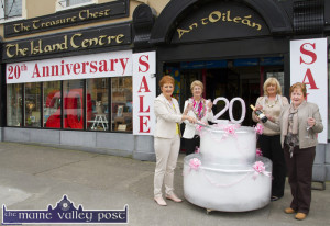 Manager, Margaret O'Connor (left) pictured with staff members: Mary Brosnan, Maura O'Shea and Marie Brosnan, celebrating the 20th avviversary of the opening of The Treasure Chest on Main Street, Castleisland. ©Photograph: John Reidy