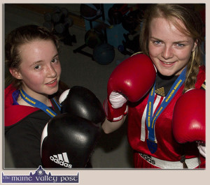 Sliabh Luachra Boxing Club members, Katelyn Horan, Castleisland (left) who won an All-Ireland title on Friday and Saoirse Kelly, Glenflesk who will fight in her fifth final on the coming weekend. ©Photograph: John Reidy
