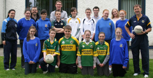Kerry manager, Jack O'Connor pictured on a visit to Castleisland Community College at the introduction of his KES funded term of coaching there in 2010. Front (left to right) Megan Healy-Brennan, James McAuliffe, Garreth O'Connell, Maire O'Connell, Claire Cahill, and Amy Reidy. Back row:  Maria Moriarty, Caithlin Nolan, Justin Bennett, Derval Sheehy, Donnacha Hickey, Bernard Nolan, Rósin Casey, Aoife Nolan, Aidan Joy, Sorcha O'Connor, Aoife Ryan, Érin O'Connor and Jack O'Connor. Photo courtesy of Castleisland Community College June 2010