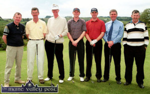 Testing Castleisland's new golf course on its opening day in June 2002, were from left: Andrew Kelliher, Dick Spring, Dr. Arthur Spring, course designer and his sons, Arthur J and Graham Spring with course manager Mick Coote and Dano Dennehy. ©Photograph: John Reidy 1-6-2002