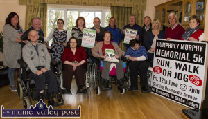 Staff and residents at Glebe Lodge Residential Facility pictured with members of the Castleisland Races Committee at the announcement of details of the Humphrey Murphy Memorial 5K  Road Race and Fun Run. Included are: Front: Pat Dee, Kathleen O'Callaghan, Kathleen Healy and Monica Murphy. Back from left: Liz Renauld, Eamon O'Brien, Ann Marie O'Connor, Kathleen Reidy, Willie Reidy, Pat Hartnett, John Ryan, Martin Conway, Tina Donovan, Tom O'Sullivan and Martina O'Mahony. ©Photograph: John Reidy 11-4-2015