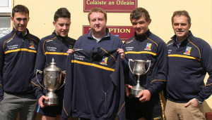 Thomas O'Connor of O'Connor Coaches presenting school tops to the St. Patrick's Boys' Secondary School's successful football teams. Included are, from left: Patrick McCarthy, teacher; Shane O'Donoghue, 'Joe O'Connor Cup' team captain; Thomas O'Connor, O'Connor Coaches;  Jack Daly, Munster U-16½ captain and John O'Sullivan, teacher. Photograph Courtesy of St. Patrick's