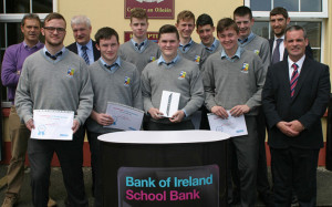 The St. Patrick's Secondary School students being presented with their School Bank Awards form Bank of Ireland this week. Front from left:  Conor O'Shea, Shane McGaley, Oisin Forde, Ipad winner;  Cian Mangan and Denis O'Donovan, principal. Back from left: John O'Sullivan, teacher; Paddy Garvey, manager Bank of Ireland, Castleisland; David Lynch, Kieran Griffin, Shane O'Donoghue, Adam Donoghue and Cillian Young, Bank of Ireland. Photograph: Courtesy of St. Patrick's.