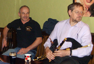 The two Peters: Browne and Browne. Publican and Piper at Browne's during a recent Patrick O'Keeffe Traditional Music Festival .  Photo courtesy of Peter Browne - the publican.