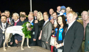 Midtown Raffa with trainer and assistant trainer, Mossie O'Connor and Mossie Leane with John Skevena O'Sullivan and David Dauber Prendiville and a host of well-wishers including Minister for Agriculture, Simon Coveney, TD joining in the celebrations after the Irish Independent Laurels at Curraheen Park in Cork last night.