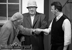 The late Danny Broderick (centre) in another role in which he excelled. He's pictured as 'The Bull McCabe' with fellow Island Players, Ciaran Fleming, (left) and Tommy Martin in a scene from their 2001 adaptation of John B. Keane's classic play The Field at the Ivy Leaf Arts Centre ©Photograph: John Reidy   24-11-2001