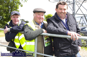 Racing committee members, Ted Kenny and John Skevena O'Sullivan with landowner, Mossie Brosnan at the 2013 Castleisland Races meeting at Powell's Road. ©Photograph: John Reidy