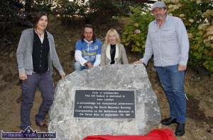 Adventurers, Clare O'Leary and Mike O'Shea pictured with John and Mary Lenihan at the unveiling at Lenihan's Hill at An Riocht Athletic Club in September. ©Photograph: John Reidy 8-9-2014