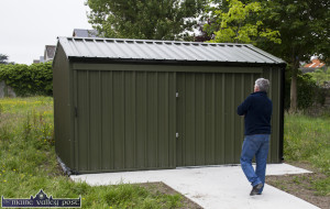 Local resident, John Scollard inspects the new installation at St. Stephen's Park after it was put in place on Friday morning. ©Photograph: John Reidy