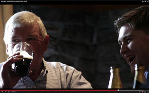 Two of Sliabh Luachra's finest box players: Jimmy Doyle and Bryan O'Leary with a bit of devilment coming to light in Scart on World Fiddle Day 2015.  ©Image from Christopher Garrett's film.