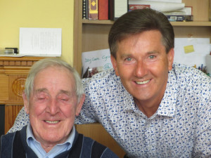 Noted local singer, Michael McAuliffe pictured with another slightly more noted singer, Daniel O'Donnell during the star's surprise visit to Castleisland Day Care Centre on Monday afternoon. 11-8-2014