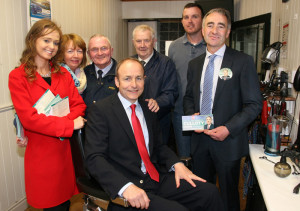 The late Kathleen O'Connor (second from left) with Fíanna Fáil leader, Micheal Martin, TD pictured with 2014 local election candidates, Anne McEllistrim (left) and John Joe Culloty at Brennan's Barbers Included are: Kathleen O'Connor, Jamsie O'Callaghan and Thomas and John Brennan. ©Photograph: John Reidy 11-4-2014