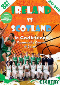 The poster for the Ireland V Scotland international with Adam in action.