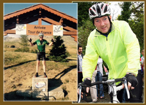 Tommy Sheehy, Castleisland and Tralee has just completed another of his 'Tour d'France' charity cycles for Enable Ireland.  Left: Tommy standing on top of the famous Alpe de Huez