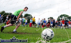 A typically nail-biting finish. Cahereens West took the 2009 title as Edward O'Brien is helpless in stopping Chris Kerley's title clenching penalty in the shoot-out in the KDYS/ Garda Soccer Tournament U-16 final.  ©Photograph: John Reidy