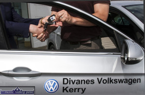 All in the Hands: Denis Divane, MD Divanes Castleisland presenting VW Brand Ambassador, Eamonn Fitzmaurice with the keys of the 152 KY Passat Highline at the Killarney Road, Castleisland base on Friday afternoon.  ©Photograph: John Reidy