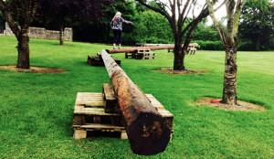 More a test of balance than an obstacle - poles set as part of tomorrow's HercOileán - Island Warrior Challenge at An Riocht AC. ©Photograph: John Reidy