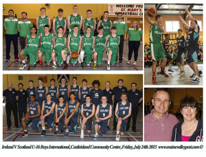 Ireland V Scotland U-16 Boys International, Castleisland Community Centre, Friday, July 24th 2015. Composite includes both teams with Adam Donoghue in action and his proud parents, Eileen and Garreth as spectators.  www.mainevalleypost.com