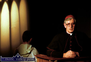 Ivy Leaf director, Jerome Stack in the role of The Bishop in The Island Players adaptation of John B Keane's play The Field in November 200. The 'altarboy' in the background is John Broderick - grandson of Ivy Leaf stalwart, Danny Broderick.   ©Photograph: John Reidy 24/11/2001