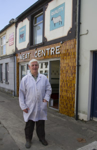 Retiring butcher, Jerome Stack pictured on Sunday morning outside The Meat Centre at No. 127 Upper Main Street, Castleisland where he has plied his trade since 1975. ©Photograph: John Reidy