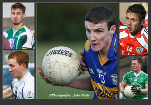 Kerry junior team squad members to face Wexford in the All-Ireland semi-final today.  Philip O'Connor, Cordal (centre) with clockwise from bottom left: Thomas Hickey, Desmonds; Eamon Kiely, Brosna; Adam Barry, Brosna and James Walsh, Knocknagoshel. ©Photographs:  John Reidy
