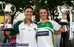 Labhaoise Walmsley with her mom, Joanne when the 2014 U-14 team stopped in Castleisland.  ©Photograph: John Reidy 20-7-2014