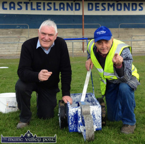 The seldom praised: Castleisland Desmonds GAA Club grounds-men, Mike Cremin (left) and Willie Reidy were included in the praise being dished out after the Comórtas Peil John Egan at the weekend. ©Photograph: John Reidy