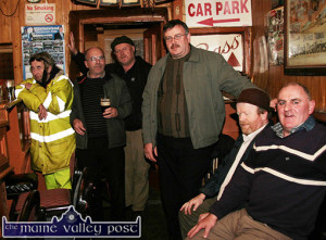 One of those nights in Sheila's:  From left: Paddy Curtin, RIP; Declan Lowney, RIP; John Reidy, Willie Leane, Mike Kenny, RIP and Tom O'Connell.  Photograph: Mary O'Connell 21-11-2009