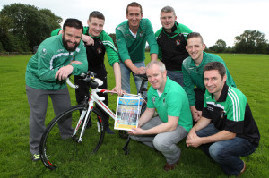 Ring Rust: Castleisland AFC launching their inaugural cycle.  Font Paul Geaney and Patrick O'Rourke, chairman.  Back from lef: Jason McCarthy manager, Martin Moriarty, Aidan O'Callaghan, John Feehan and Dean Poolman.