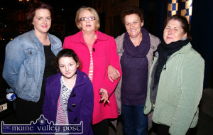 The late Áine Behan (in red coat) pictured with her daughter Cecily O'Connor and grand-daughter, Gabrielle Coughlan with Margaret Mitchell and Mary Walsh waiting for the Desmonds Celebrity Bainisteóir Celebrations in October 2010.  ©Photograph: John Reidy 30-10-2010