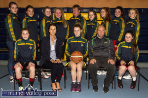 Castleisland Community Games U-16 Girls' Basketball team pictured in their new McCarthy Insurance Group sponsored gear as they prepare for this weekend's All-Ireland finals in Athlone. Front: Bríd Moriarty, Norma O'Connor, McCarthy Insurance Group; Labhaoise Walmsley, captain; Denny Porter, coach and Nicole Downey. Back from left: Aoife Nolan, assistant coach; Siobhán Collins, Aoife O'Connor, Sarah O'Sullivan, George O'Connor, assistant coach; Anna Lynch, Kayla O'Connor, Moya Sheehan and Hannah O'Connor. ©Photograph: John Reidy 17-8-2015