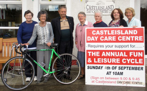 At the announcement of details of the Sunday, September 6th Castleisland Day Care Centre Fun & Leisure Cycle were: Ann Mc Auliffe, Helen Pembroke, Dan Collins, Joan Fitzgerald, Rita Flynn, Kathleen Meeley and Rita Mc Carthy. Photo Courtesy of Castleisland Day Care Centre.