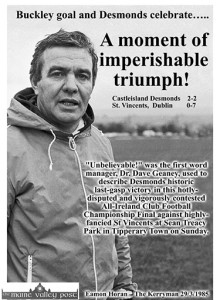 The man behind the greatest day in the history of Castleisland Desmonds' GAA Club pictured at a Sunday morning training session in preparation for the 1985 All-Ireland Club Football Championship semi-final. ©Photograph: John Reidy 17-2-1985