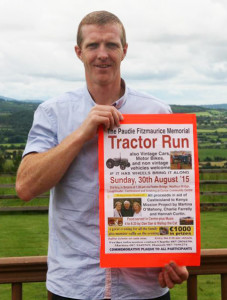 Henry Shefflin has been appointed the new ambassador for the Ray of Sunshine Foundation after the passing of the late Derek Davis. Here, the Kilkenny hurling superstar is seen endorsing the annual Paudie Fitzmaurice Memorial Tractor Run to be held on Sunday.