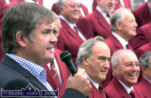 Listowel Rugby Club MC, Con Lynch introducing the Dursley Male Voice Choir at the clubs 'Slán Abhaile' free recital and barbeque on the grounds of Listowel Castle in 2010. ©Photograph: John Reidy 5-9-2010