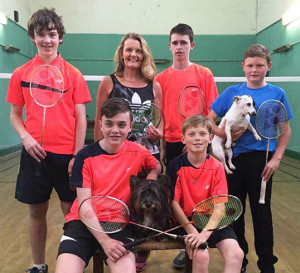 Kingdom Badminton Club Coach, Lorna Keane pictured with her Boys' U-15 Badminton team as they prepare to represent Munster in the All-Ireland Community Games Finals in Athlone this weekend. Included are, front: Kevin Keane (left) and Peter Burke. Back: Dylan Browne, Lorna Keane, Josh Horan and team mascots, Patrick Roche and Patch Keane. Photograph: Jonathan Keane.