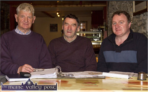 The Michael O'Donohoe Memorial Heritage Project Committee members, Tomo Burke, treasurer (left) and Johnnie Roche, chairman pictured with Kerry County Council Heritage Officer, TJ O'Mahony at one of their weekly meetings at Lawlor's Restaurant , Castleisland. ©Photograph: John Reidy 23-4-2015