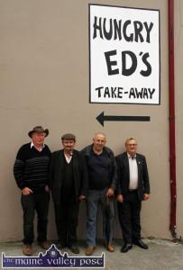 At Hungry Ed's Corner during last year's fair were: Tom O'Regan, Knocknagoshel (left) with: Billy McKenna, Lyreacrompane; John O'Donoghue and John 'Sir John' Cotter, Knocknagoshel.  ©Photograph: John Reidy 16-8-2014