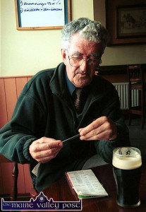 About his study: The late Michael O'Donohoe in 'The Master's Office' in Skevenas Bar in 2001.  ©Photograph: John Reidy