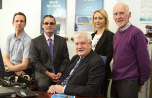 Castleisland Bank of Ireland branch manager, Paddy Garvey (centre) pictured with members of the Castleisland Interprise Town Expo Committee. Included are: Bill Costello (left) with: Denis O'Donovan, Lisa Geaney and Donal O'Connor. ©Photograph: John Reidy