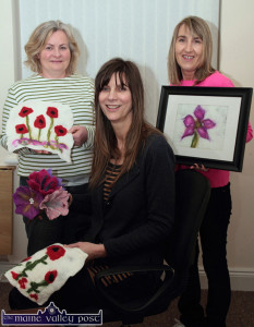 Castleisland Craft Club founder, Val Doughty (centre) pictured with Sinéad Murphy (left) and Phil Templeman with samples of their felting work at the end of the 2014/15 season last March. ©Photograph: John Reidy